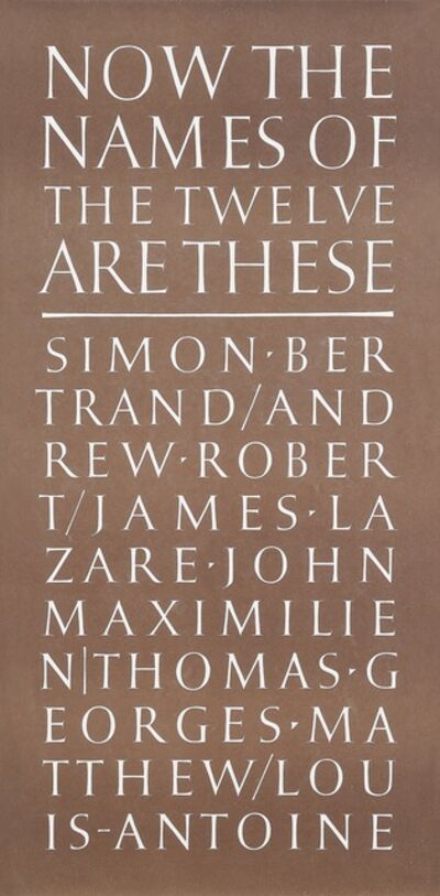 Ian Hamilton Finlay, 'Now the Names of the Twelve are These', 1987