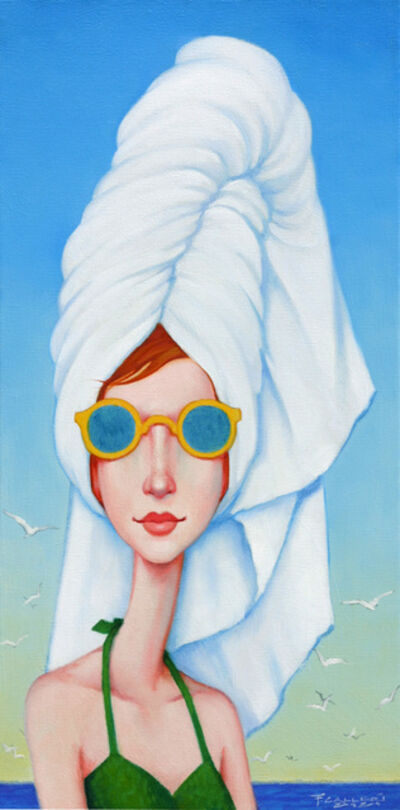 "Fred Calleri, '""Bouffant"" oil painting of a woman in a green swimsuit and white towel wrapped', 2020"