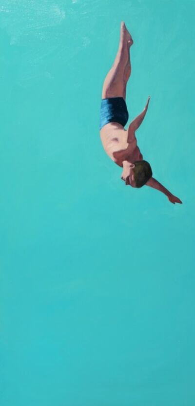 "T.S. Harris, '""Glider"" Oil painting of a male diver with bright turquoise background', 2020"