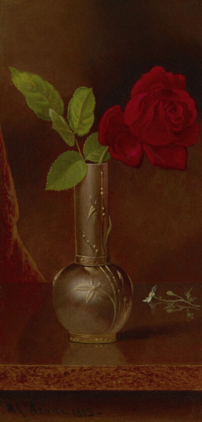 Martin Johnson Heade, 'Red Rose in a Standing Vase', 1883