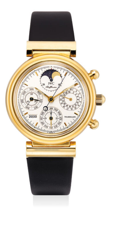 IWC, 'A rare and fine limited edition yellow gold perpetual calendar chronograph wristwatch with tourbillon, moon phase, leap year indicator, digital year display, Guarantee and box, numbered 57 of a limited edition of 200 pieces', Circa 2000