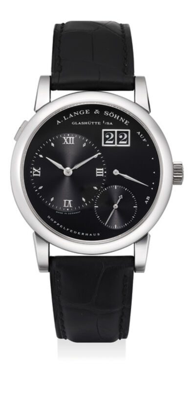 A. Lange & Söhne, 'A rare and attractive platinum wristwatch with oversized date and power reserve', Circa 2001