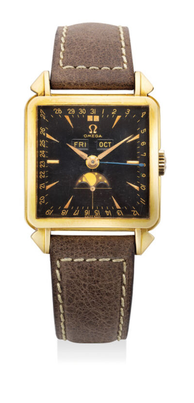 OMEGA, 'A rare and fine yellow gold square wristwatch with triple calendar, moonphases and black dial', Circa 1950s