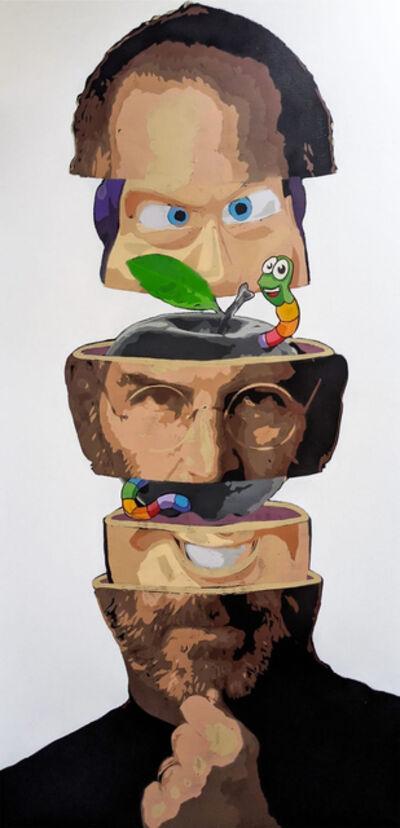 """Kar-Part, '""""To Obsolesence & Beyond"""" - Steve Jobs aerosol on canvas ', 2021"""