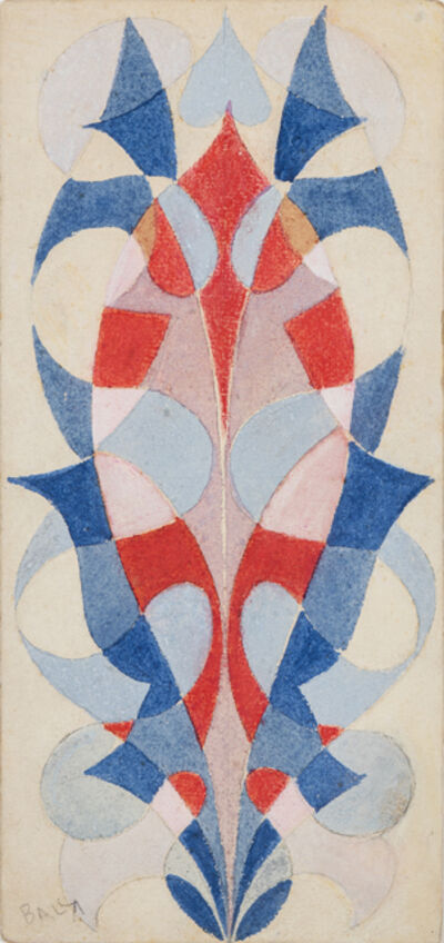 Giacomo Balla, 'Decorative motif for embroidery: interpenetration of shapes, flower, trend lines', ca. 1920