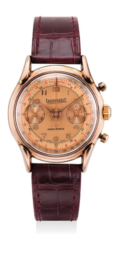 Eberhard, 'A fine pink gold-plated stainless steel chronograph wristwatch with split seconds and tachymeter scale', Circa 1950s