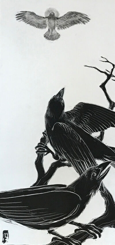 Ellen LeBow, 'Crow and the Hawk #1', 2019