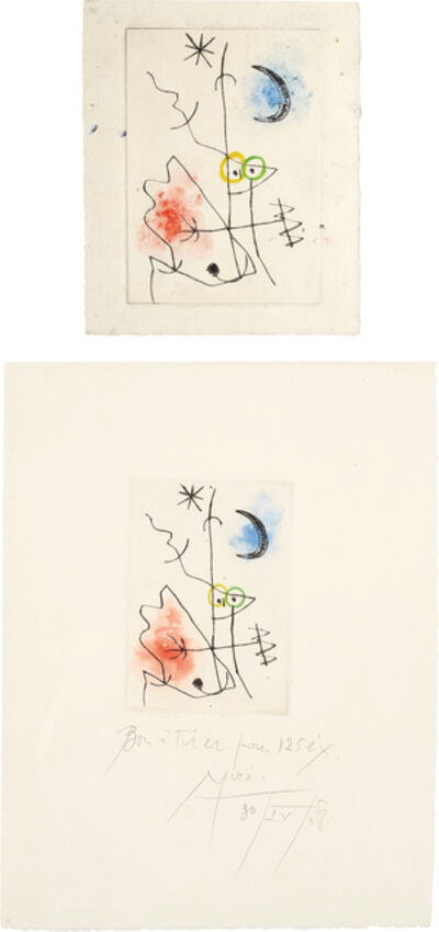 Joan Miró, 'Le grillon (The Cricket): two impressions', 1958