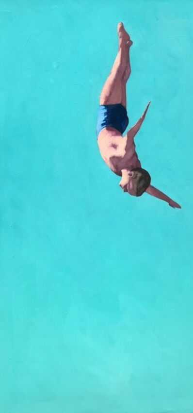 "T.S. Harris, '""Glide"" Oil painting of a male diver with bright turquiose background', 2020"