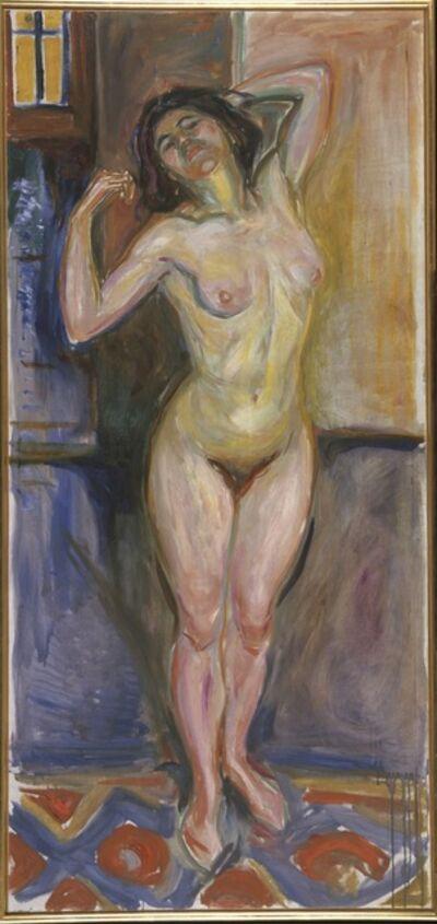 Edvard Munch, 'Stående akt med armene bak hodet (Standing Nude with Arms behind her Head)', 1922-1925