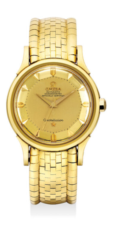 OMEGA, 'A fine yellow gold wristwatch with center seconds, pie-pan dial and bracelet', Circa 1960