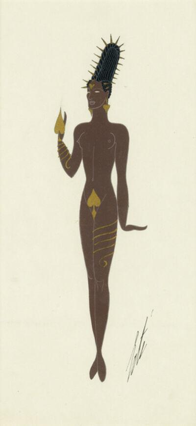 """Erté (Romain de Tirtoff), '""""L'As de Pique."""" Costume design for unknown production', February 1935"""