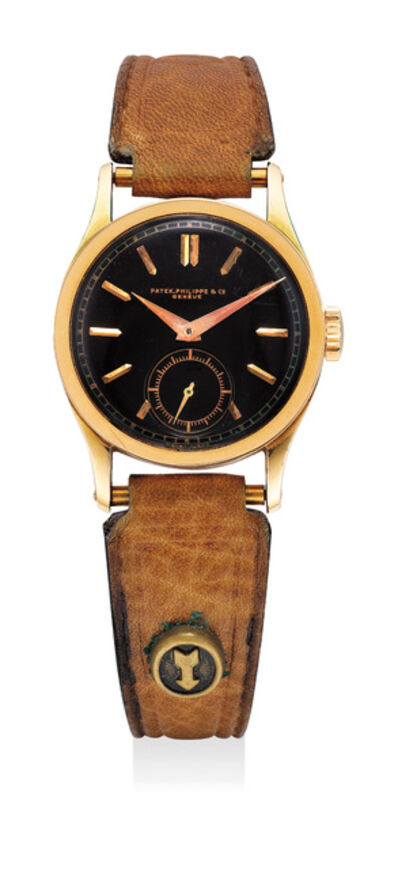 Patek Philippe, 'A fine and very rare pink gold wristwatch with black dial', 1930