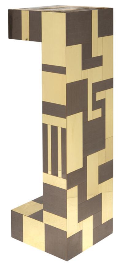 Paul Evans (1931-1987), 'Burlwood and Brass Cityscape Pedestal'