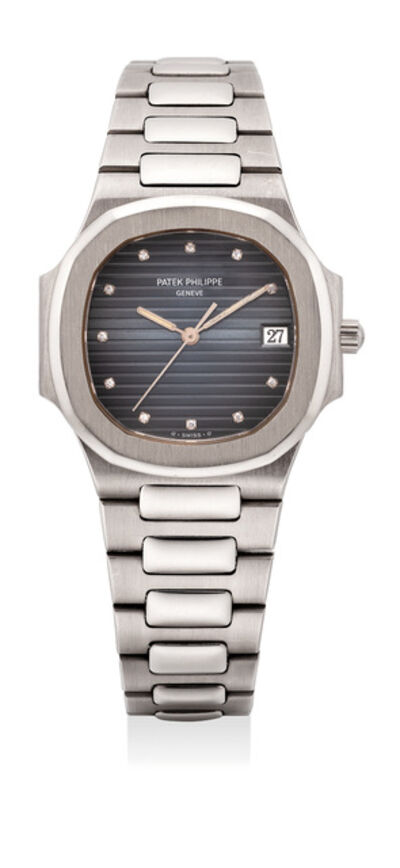 Patek Philippe, 'A very rare and the first publicly known white gold quartz wristwatch with date, center seconds and diamond hour markers', 1992