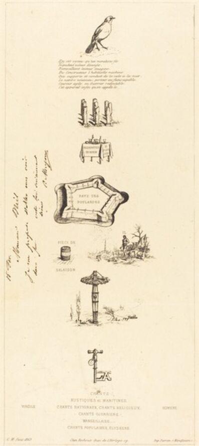 """Charles Meryon, 'Rébus: """"Béranger ne fut véritablement fort, car il n'eut jamais la clef des champs"""" (Rebus: """"Beranger was not really strong, for he never had the key of the fields"""")', 1864"""