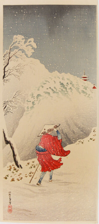 Hiroaki Takahashi (Shotei), 'Priest in the Snow on Mountain Path', ca. 1936