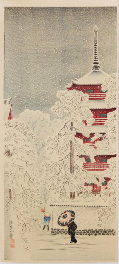 Hiroaki Takahashi (Shotei), 'Snow at Asakusa', ca. 1936