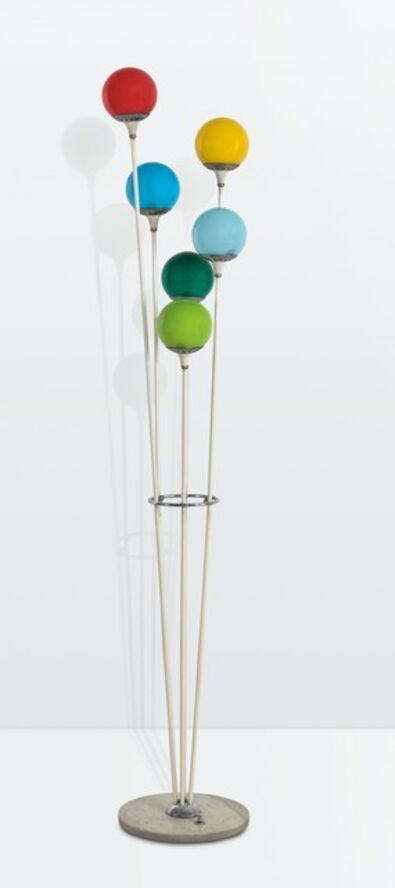 Stilnovo, 'an Alberello floor lamp with a chromed brass structure, a marble base and coloured glass shades', ca. 1960
