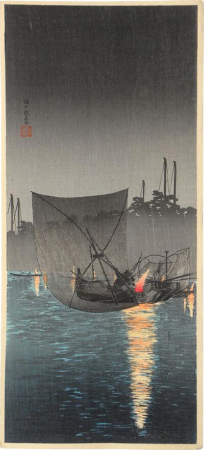 Hiroaki Takahashi (Shotei), 'Night [fishing] net at Tsukuda', ca. 1924-27