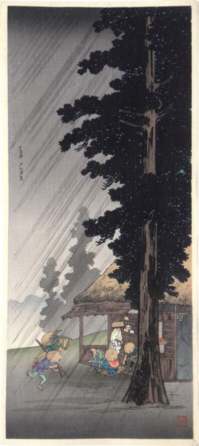 Hiroaki Takahashi (Shotei), 'Evening Shower at Takaido', ca. 1924-27