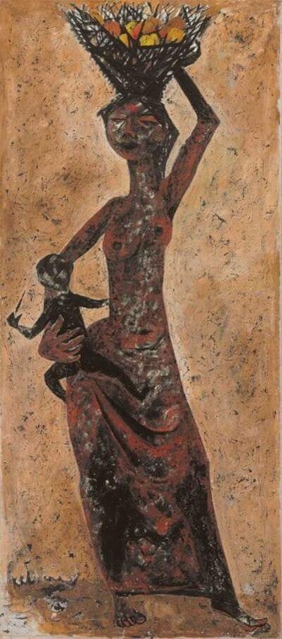 Krishen Khanna, 'Women with a Basket of Fruit', 1957
