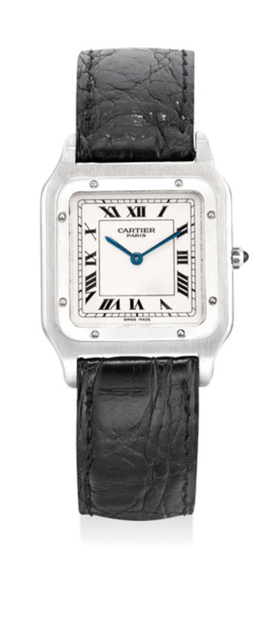 Cartier, 'A fine and attractive platinum wristwatch with certificate and box', Circa 1990s