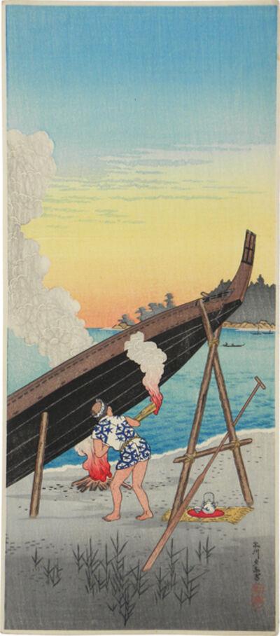 Hiroaki Takahashi (Shotei), 'Evening Calm at Shinagawa', ca. 1927-35