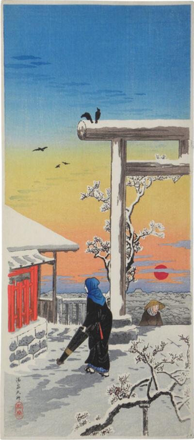 Hiroaki Takahashi (Shotei), 'Yushima Tenjin Shrine in the Snow', ca. 1924-27