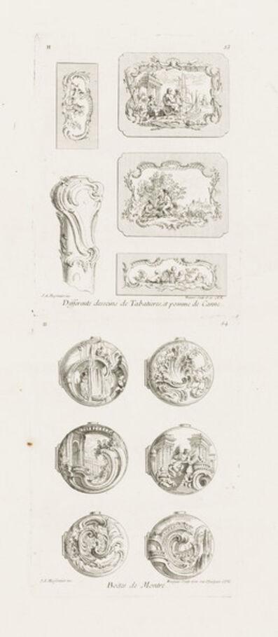 Juste-Aurèle Meissonnier, 'Differents desseins de Tabatières, et pomme de canne, cinquième planche (Different Designs for Snuff Boxes and a Cane Handle), 5th Plate', 1748