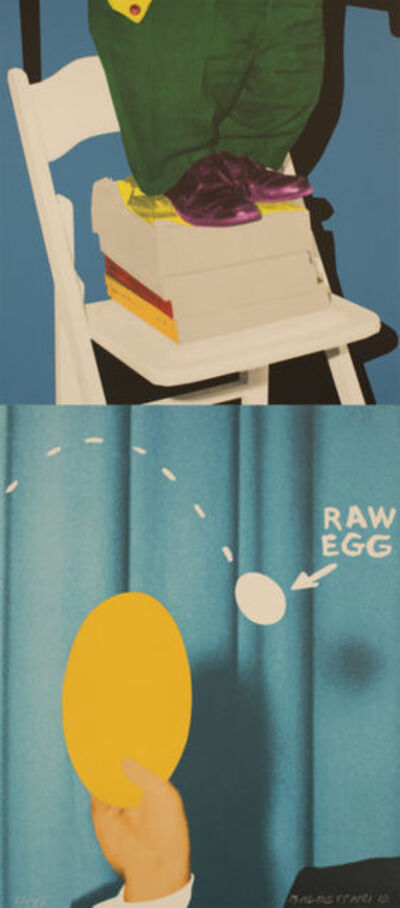 John Baldessari, 'Hand and/or Feet:Chair and Books/Plate and Egg', 2010