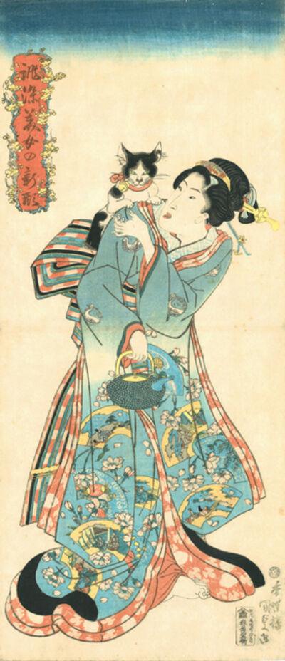 Utagawa Toyokuni III (Utagawa Kunisada), 'Cat and Beauty from the series Beauties in New Styles Dyed to Order', 1818-1830