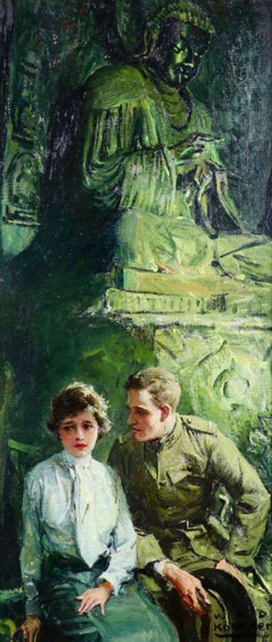 William Henry Dethlef Koerner, 'Couple in front of Buddha Statue', 1922
