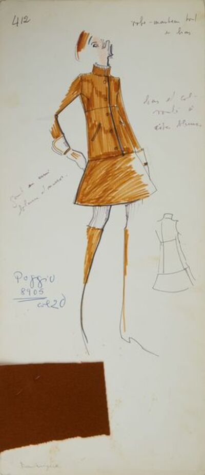 Karl Lagerfeld, 'Karl Lagerfeld Original Fashion Sketch Ink Pen and Marker with Fabric Drawing 412 Contemporary Art', ca. 1963 -1969