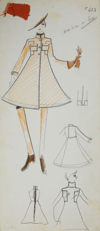 Karl Lagerfeld, 'Karl Lagerfeld Original Fashion Sketch Ink Pen with Marker and Fabric Drawing 433 Contemporary Art', 1963-1969