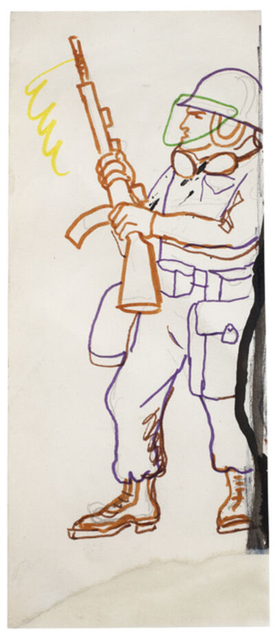 """Antonio Berni, 'Sin Título (Soldado norteamericano). De la serie """" Guerra de Vietnam""""', ca. 1970"""