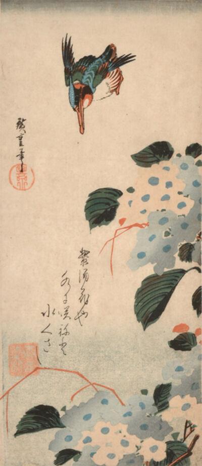 Utagawa Hiroshige (Andō Hiroshige), 'Kingfisher and Hydrangea', ca. 1832