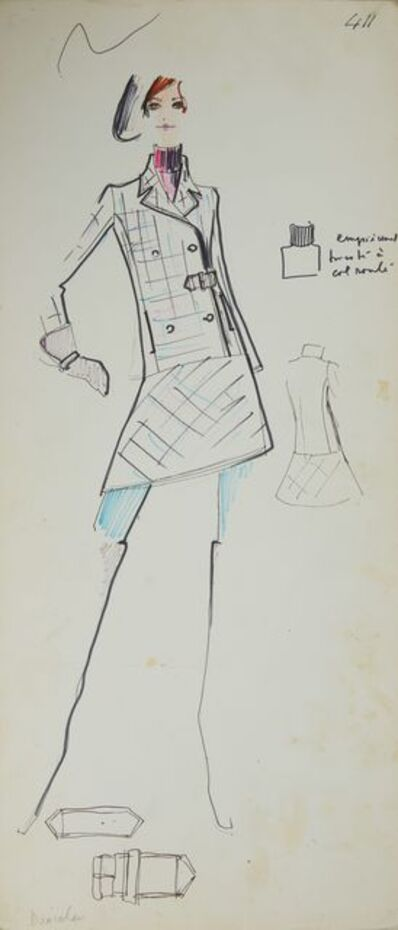 Karl Lagerfeld, 'Karl Lagerfeld Original Fashion Sketch Ink Pen with Marker Drawing 411 Contemporary Art', ca. 1963 -1969
