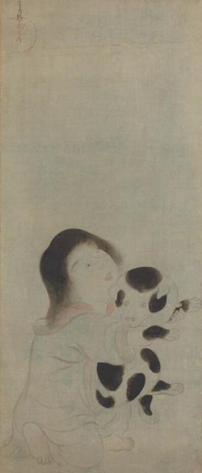 Tawaraya Sōtatsu, 'A Child Holding a Spotted Puppy', 1600-1630