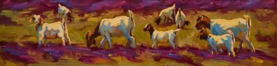 """Cheri Christensen, '""""Browsing in Verbena Fields"""" painterly depiction of a group of white and brown Goats in Purple and Green Grass', 2010-2017"""