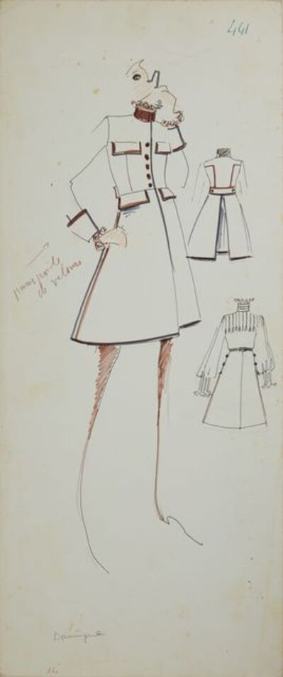 Karl Lagerfeld, 'Karl Lagerfeld Original Fashion Sketch Ink Pen with Marker Drawing 441 Contemporary Art', 1963-1969
