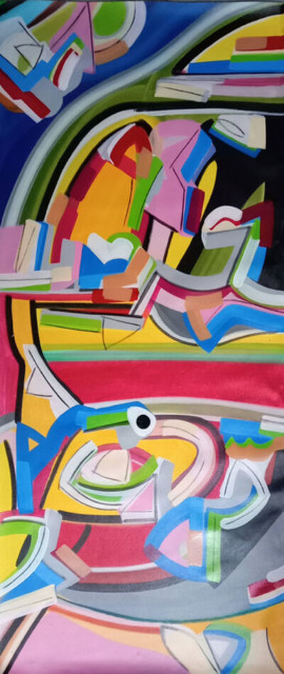 """Amit Kalla, 'Transending Forms, Abstract Painting, Acrylic on canvas, Band of colors by Amit Kalla """"In Stock""""', 2019"""