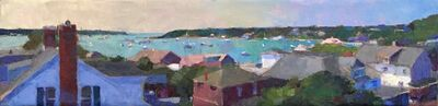 """Larry Horowitz, '""""Edgartown Rooftops"""" Oil painting of the view of teal harbor above island village', 2019"""