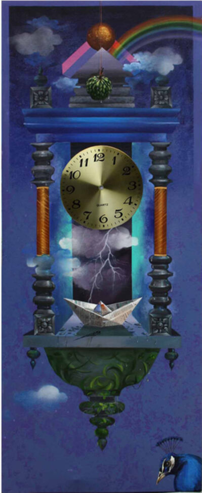 Pradosh Swain, 'Longing Past II : Wall clock in acrylic on canvas with deep blue, metalic sheet', 2011