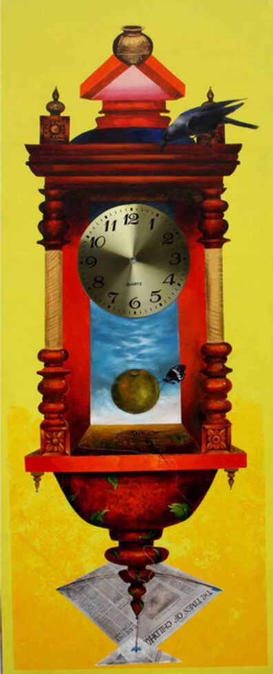 Pradosh Swain, 'Longing Past I : Bright yellow wall clock in acrylic on canvas by Pradosh Swain', 2011