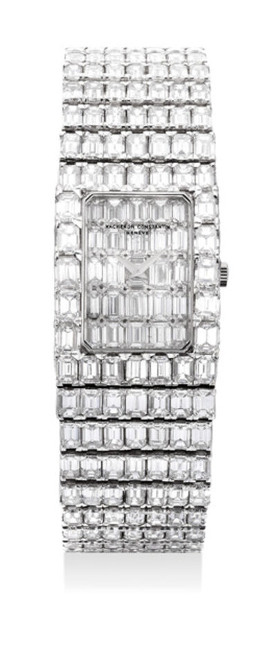 Vacheron & Constantin, 'A magnificent, lavish and exceptionally rare white gold with baguette diamond-set bracelet watch with baguette diamond dial', 1990