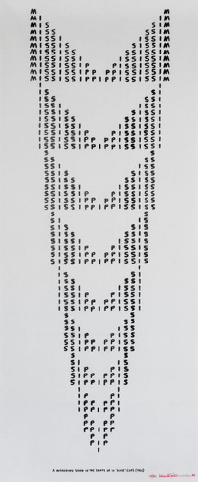 Emmett Williams, 'Mississippi, A Marching Song in the Shape of 10 Dixie Cups', 1966-1989