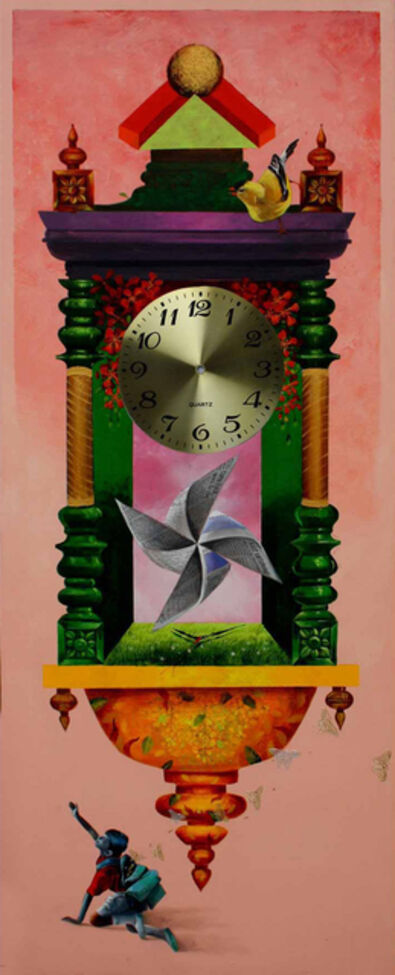 Pradosh Swain, 'Longing Past IV : Wall clock, bright pink and metalic color in acrylic on canvas', 2011