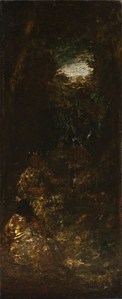 Ralph Albert Blakelock, 'Four Native Americans in a Landscape', Late 19th century