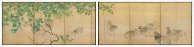 Furuya Itcho, 'Pair of Screens, Hinaga (A Long Day), sheep (T-3810)', 1918